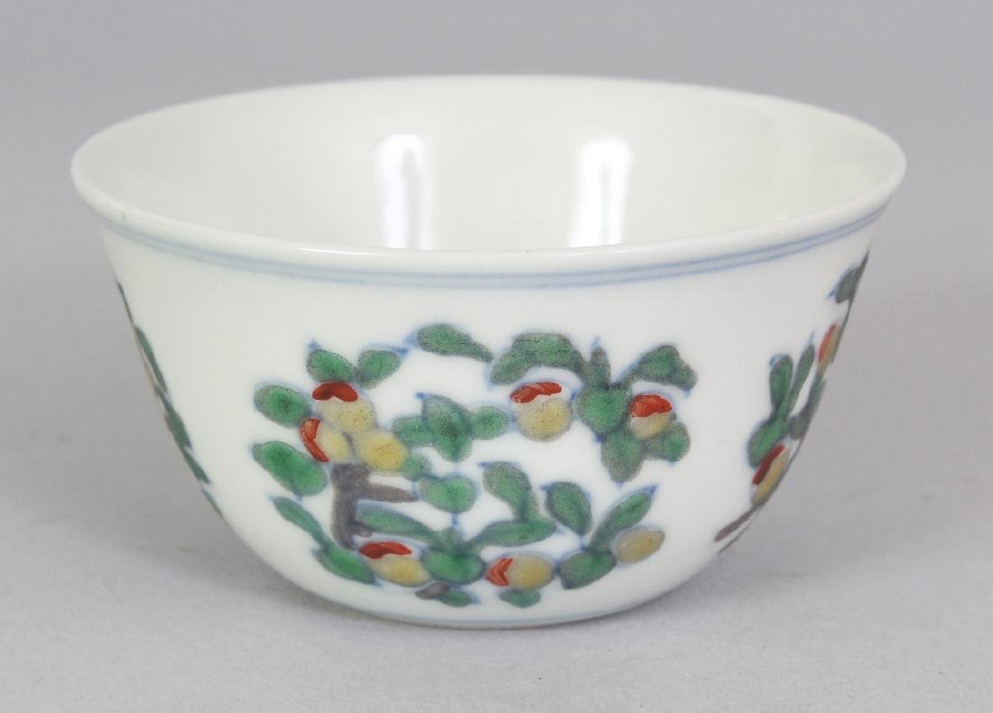 A CHINESE MING STYLE DOUCAI PORCELAIN TEABOWL, the base