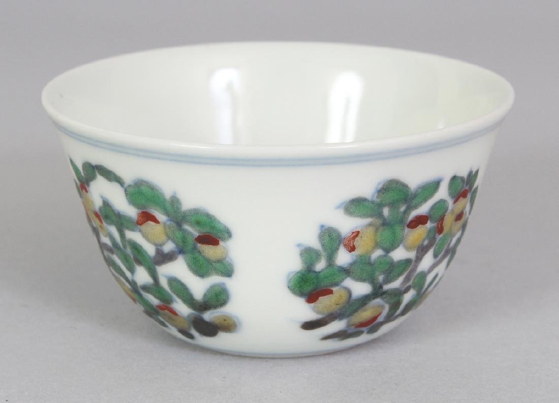 A CHINESE MING STYLE DOUCAI PORCELAIN TEABOWL, the base - 2