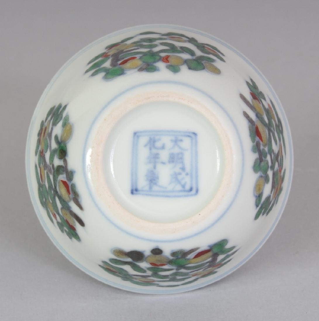 A CHINESE MING STYLE DOUCAI PORCELAIN TEABOWL, the base - 5