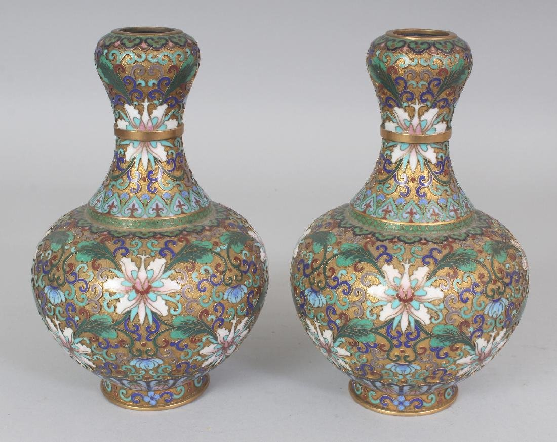 A PAIR OF 20TH CENTURY CHINESE CLOISONNE VASES, with