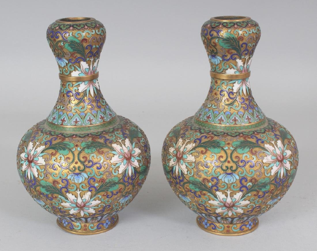 A PAIR OF 20TH CENTURY CHINESE CLOISONNE VASES, with - 2