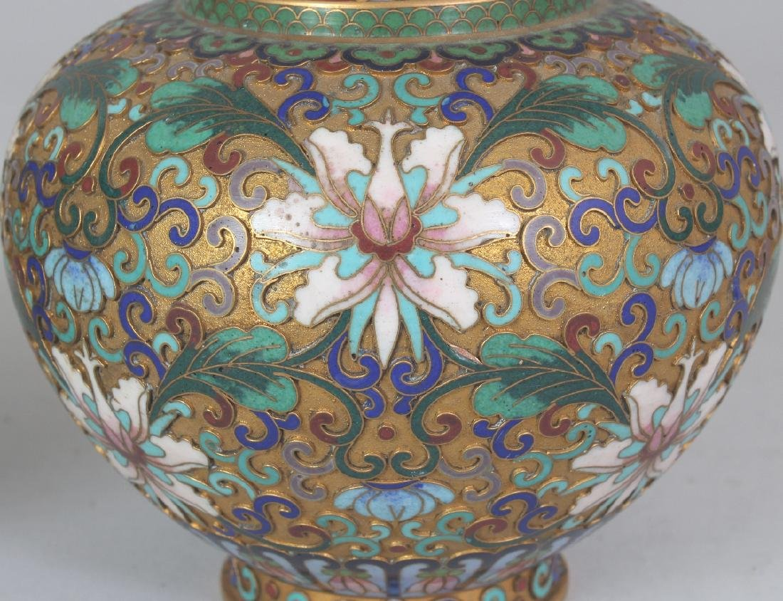 A PAIR OF 20TH CENTURY CHINESE CLOISONNE VASES, with - 3