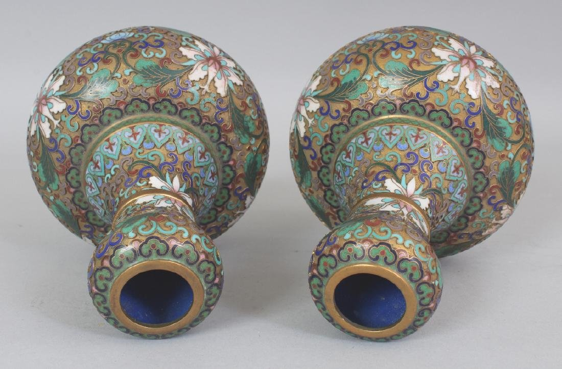 A PAIR OF 20TH CENTURY CHINESE CLOISONNE VASES, with - 4