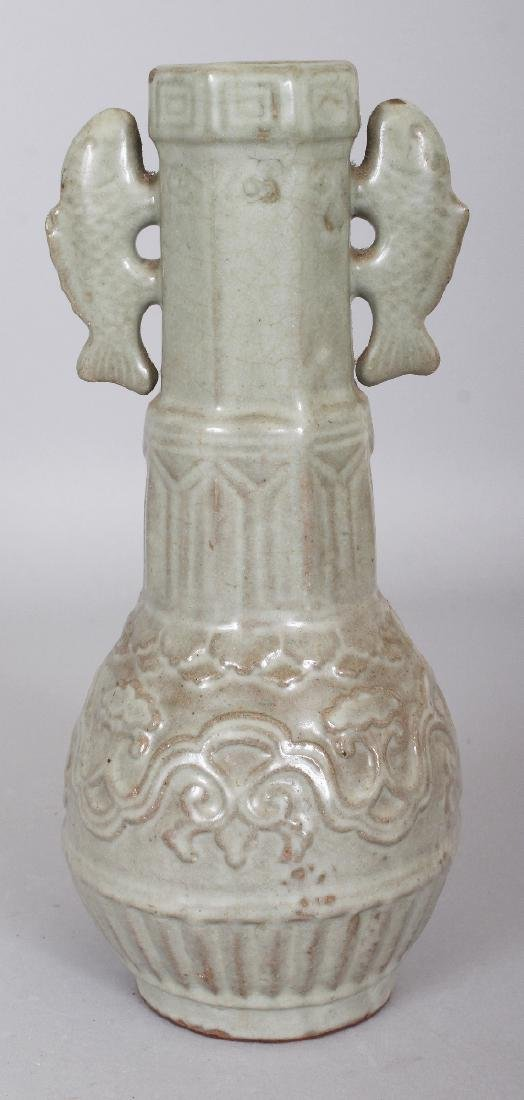 A CHINESE SONG STYLE MOULDED CELADON VASE, the neck