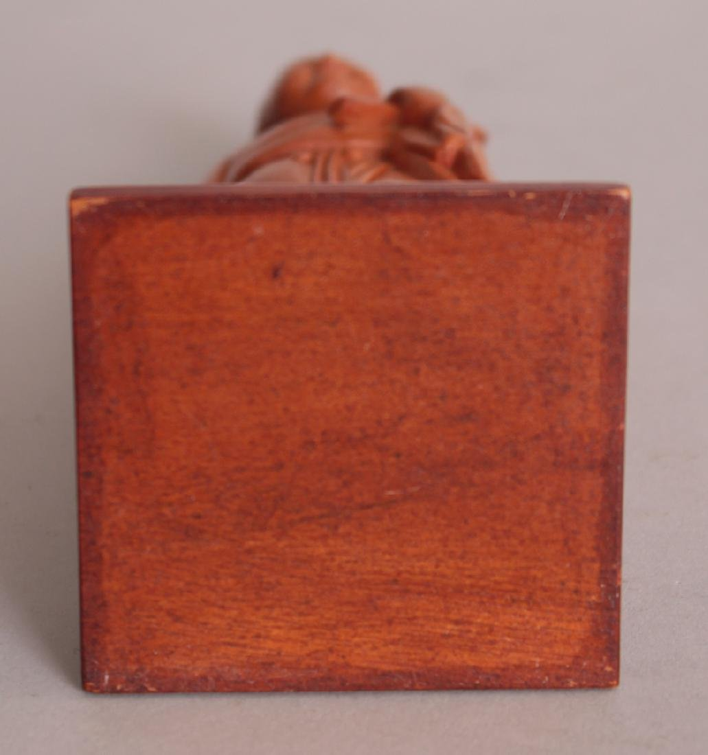 A GOOD QUALITY CHINESE COMMUNIST PERIOD CARVED WOOD - 4