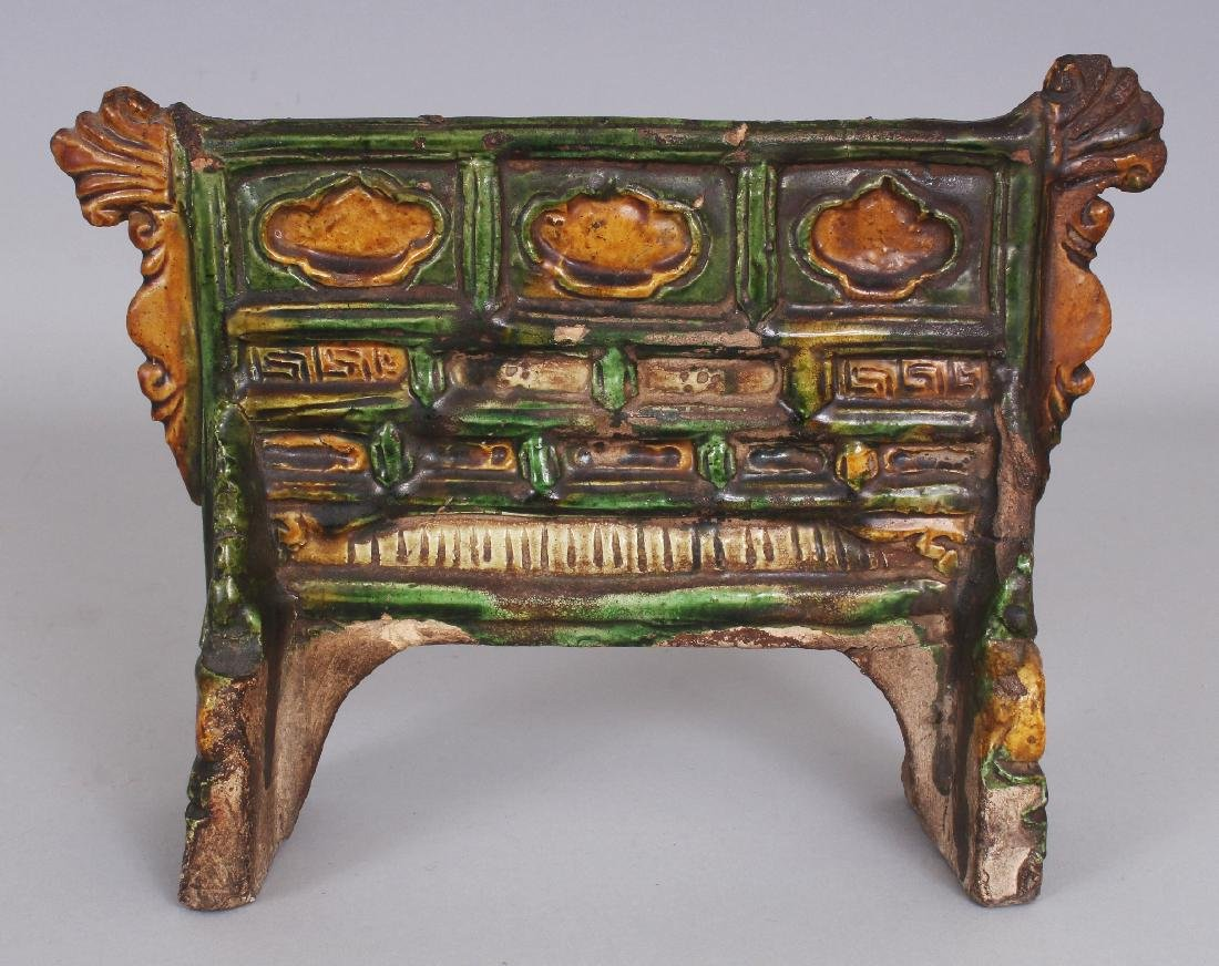 AN EARLY CHINESE SANCAI GLAZED POTTERY TABLE SCREEN,