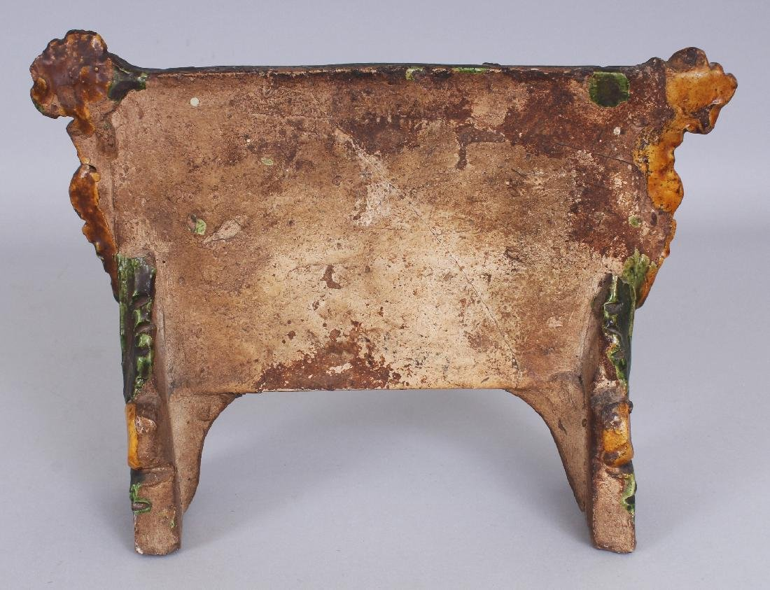 AN EARLY CHINESE SANCAI GLAZED POTTERY TABLE SCREEN, - 3