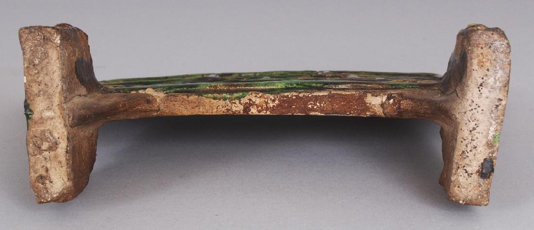 AN EARLY CHINESE SANCAI GLAZED POTTERY TABLE SCREEN, - 7