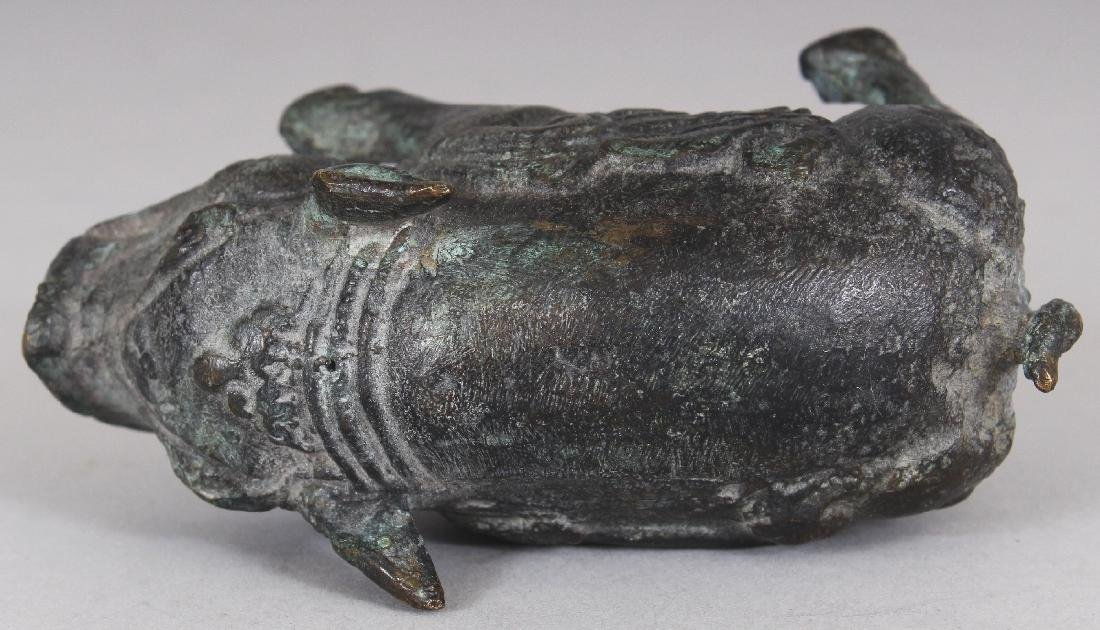 A CHINESE WESTERN ZHAO STYLE BRONZE MODEL OF A BOAR, - 4