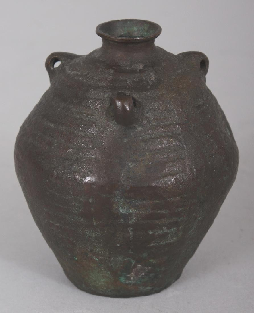A SMALL CHINESE MING STYLE BRONZE VASE, cast in the