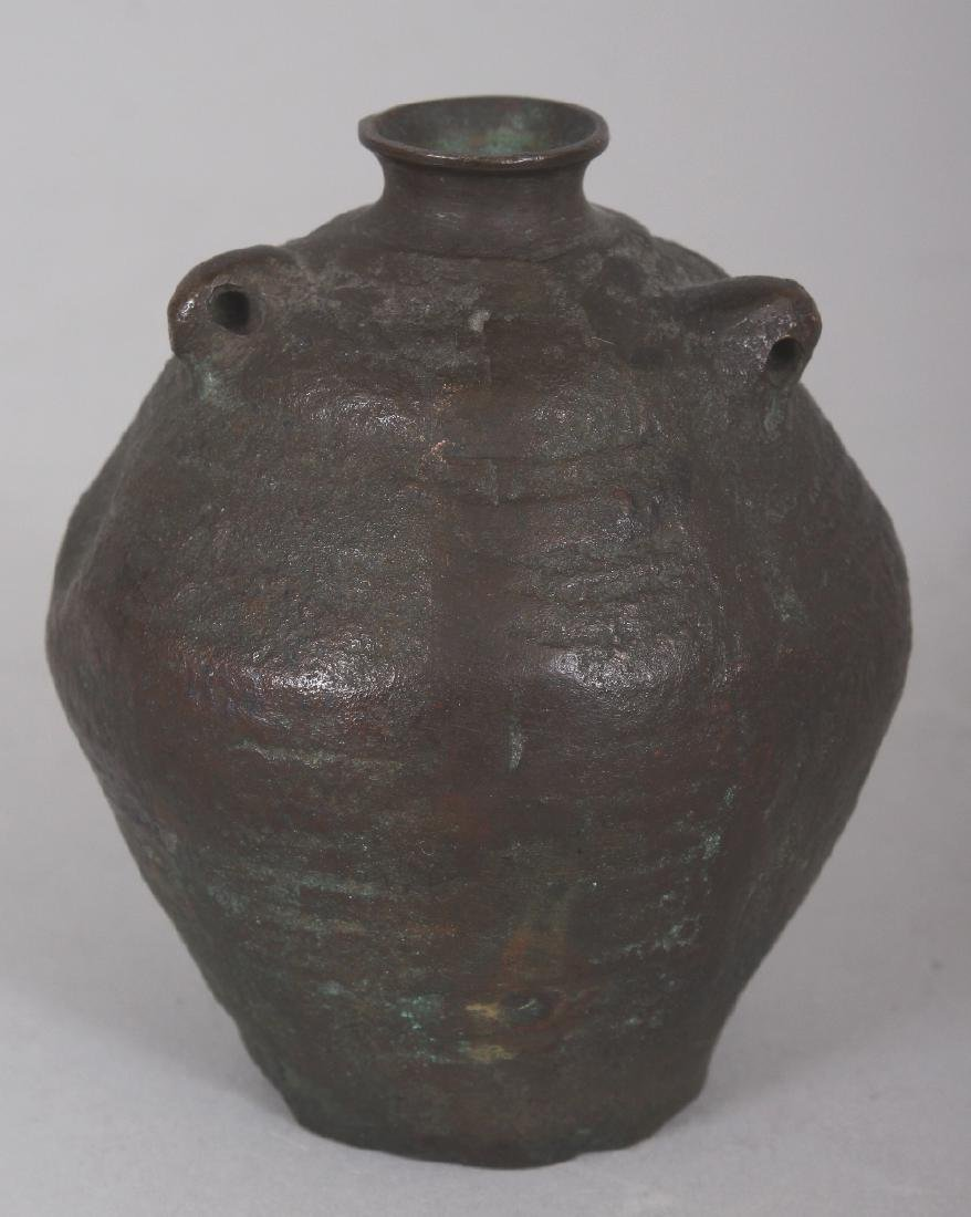 A SMALL CHINESE MING STYLE BRONZE VASE, cast in the - 2