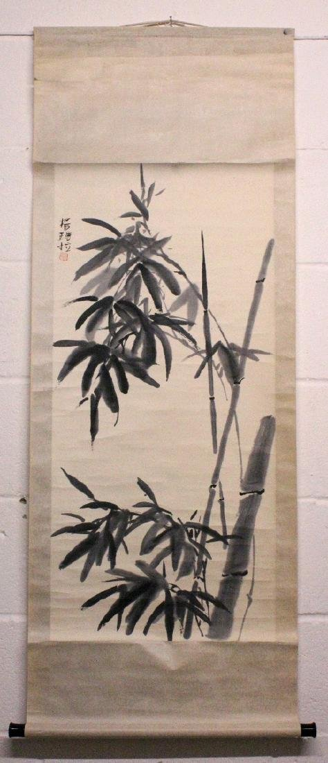 A SIGNED CHINESE HANGING SCROLL PAINTING ON PAPER, - 2