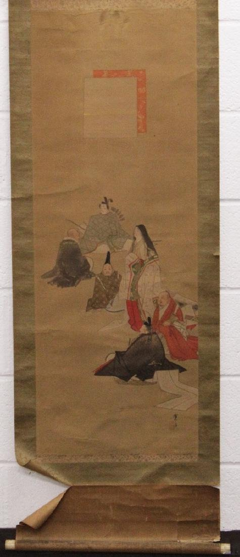A 19TH/20TH CENTURY JAPANESE SCROLL PAINTING ON SILK,