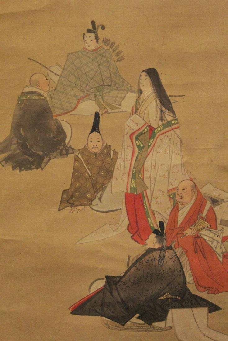 A 19TH/20TH CENTURY JAPANESE SCROLL PAINTING ON SILK, - 2