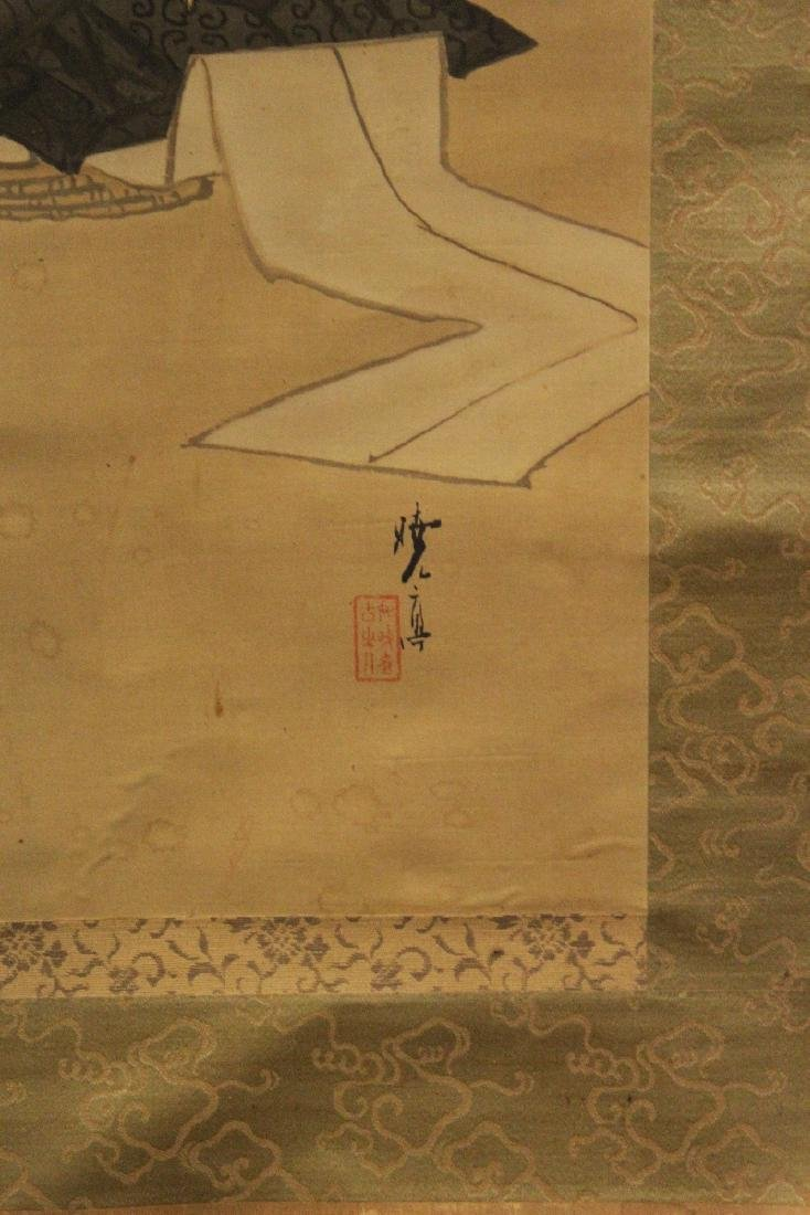 A 19TH/20TH CENTURY JAPANESE SCROLL PAINTING ON SILK, - 3