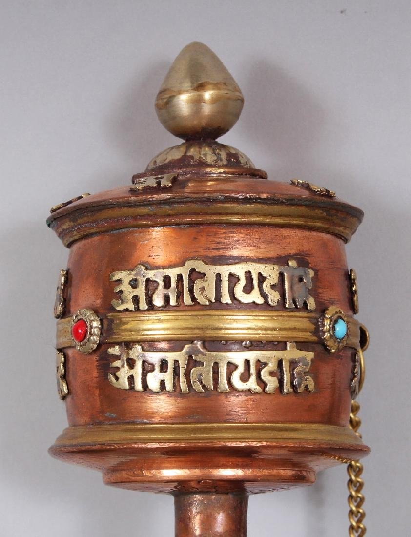 THREE 20TH CENTURY TIBETAN PRAYER WHEELS, the largest - 2