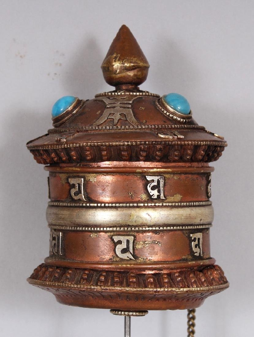 THREE 20TH CENTURY TIBETAN PRAYER WHEELS, the largest - 3