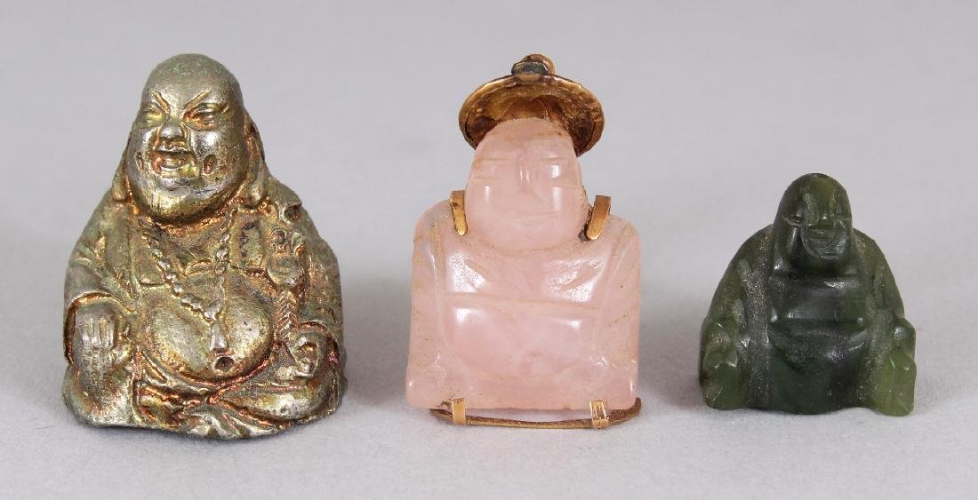 A GOLD MOUNTED CHINESE MINIATURE ROSE QUARTZ FIGURE OF
