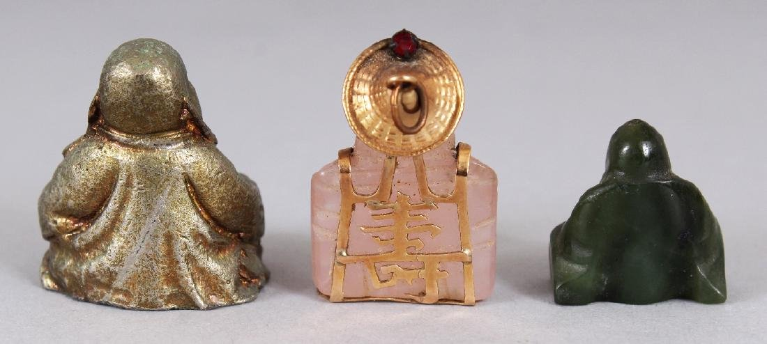 A GOLD MOUNTED CHINESE MINIATURE ROSE QUARTZ FIGURE OF - 2