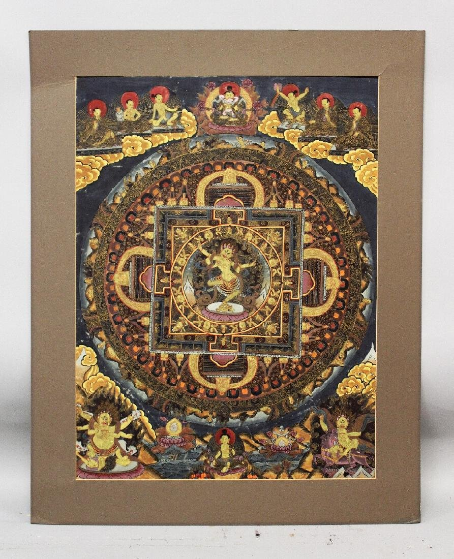 A MOUNTED TIBETAN THANGKA PAINTING, painted on thin