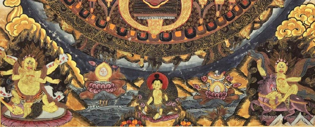 A MOUNTED TIBETAN THANGKA PAINTING, painted on thin - 5