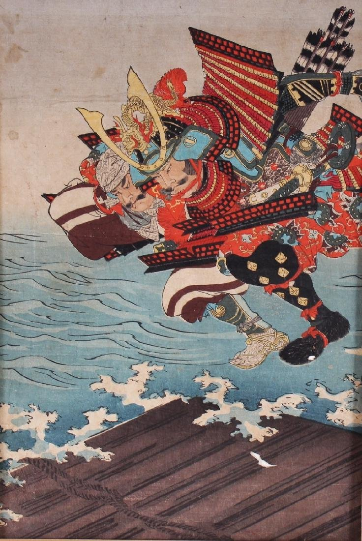 A MOUNTED 19TH CENTURY JAPANESE OBAN WOODBLOCK PRINT OF