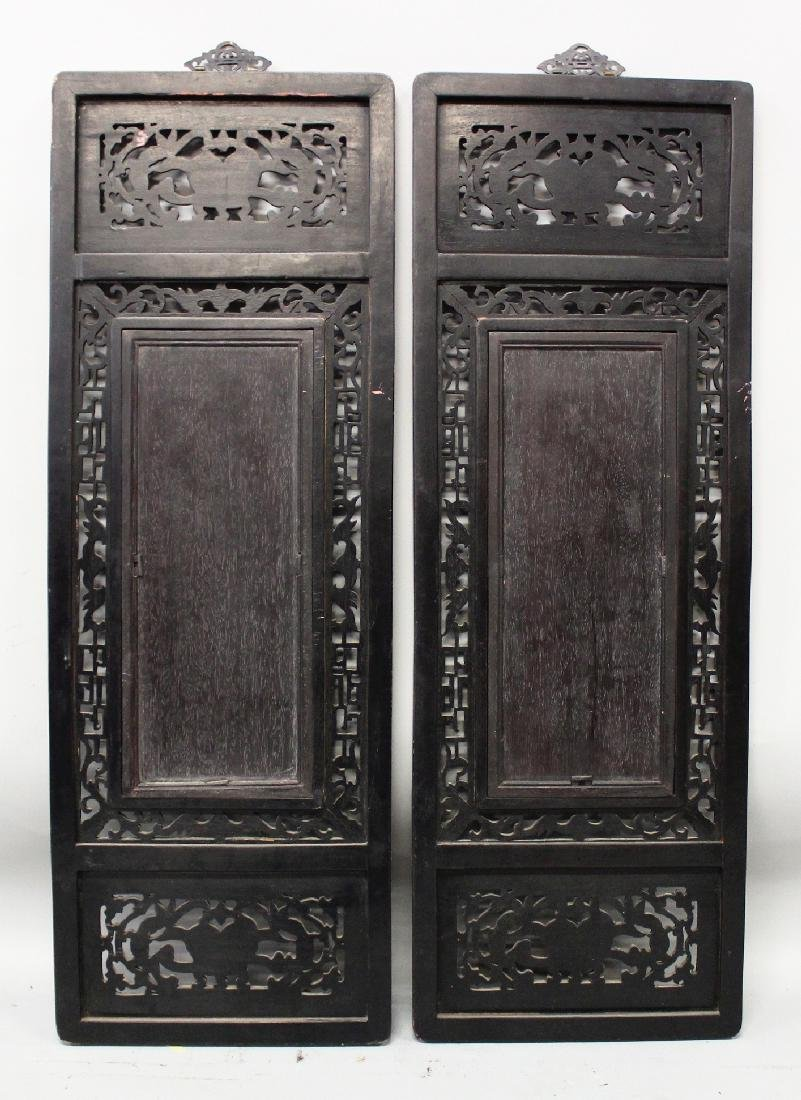 A PAIR OF CHINESE WOOD FRAMED FAMILLE ROSE RECTANGULAR - 8
