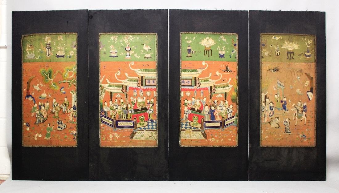 A GOOD LARGE SET OF FOUR 19TH/20TH CENTURY CHINESE