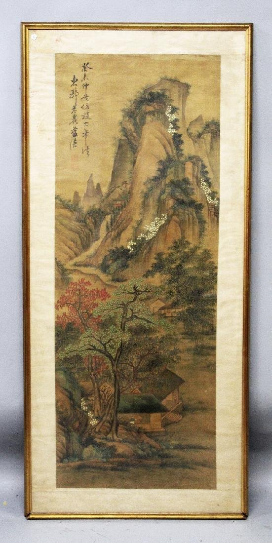 A LARGE FRAMED EARLY 20TH CENTURY CHINESE PAINTING ON