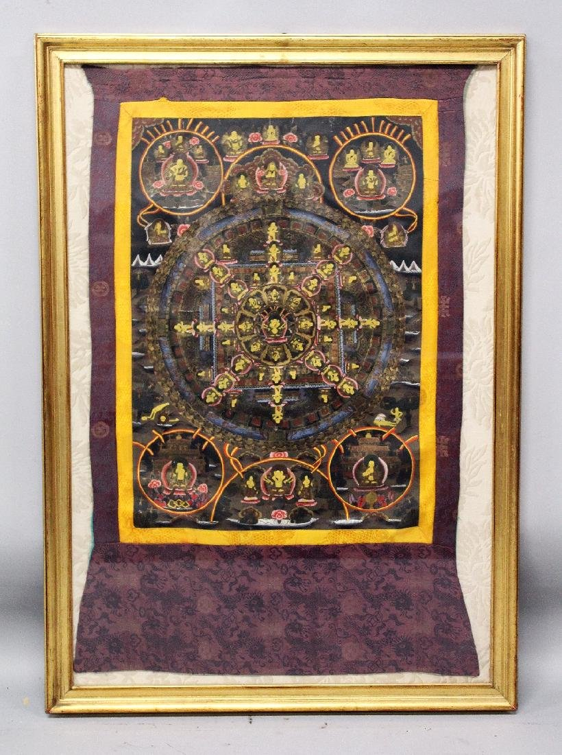 A LARGE 20TH CENTURY FRAMED TIBETAN THANGKA, painted