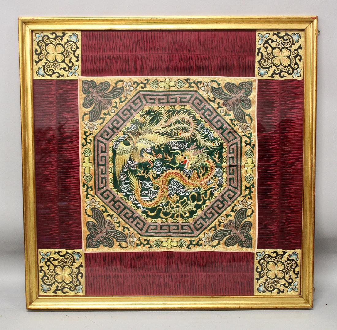 A LARGE 20TH FRAMED CHINESE EMBROIDERED SILK DRAGON &