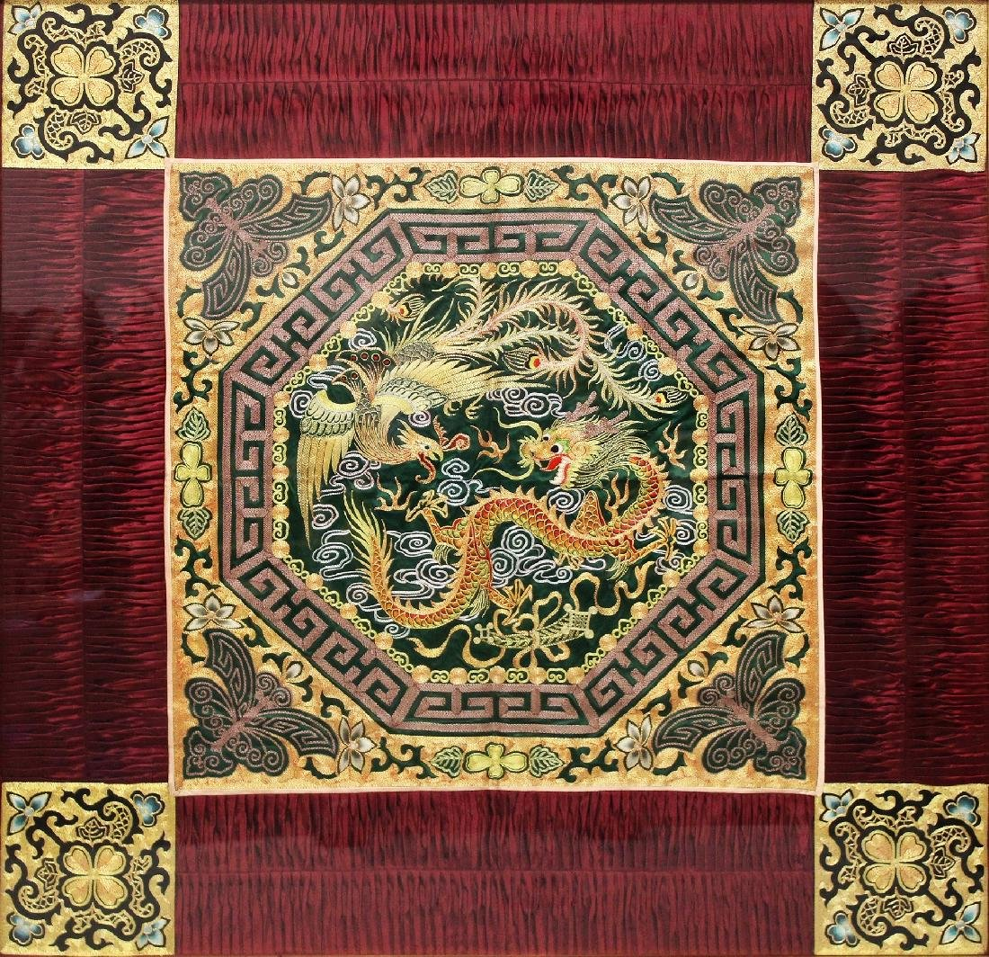 A LARGE 20TH FRAMED CHINESE EMBROIDERED SILK DRAGON & - 2