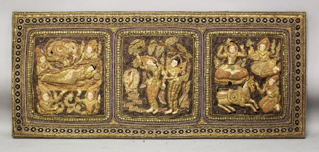 A 20TH CENTURY WOOD MOUNTED THAI EMBROIDERED FABRIC