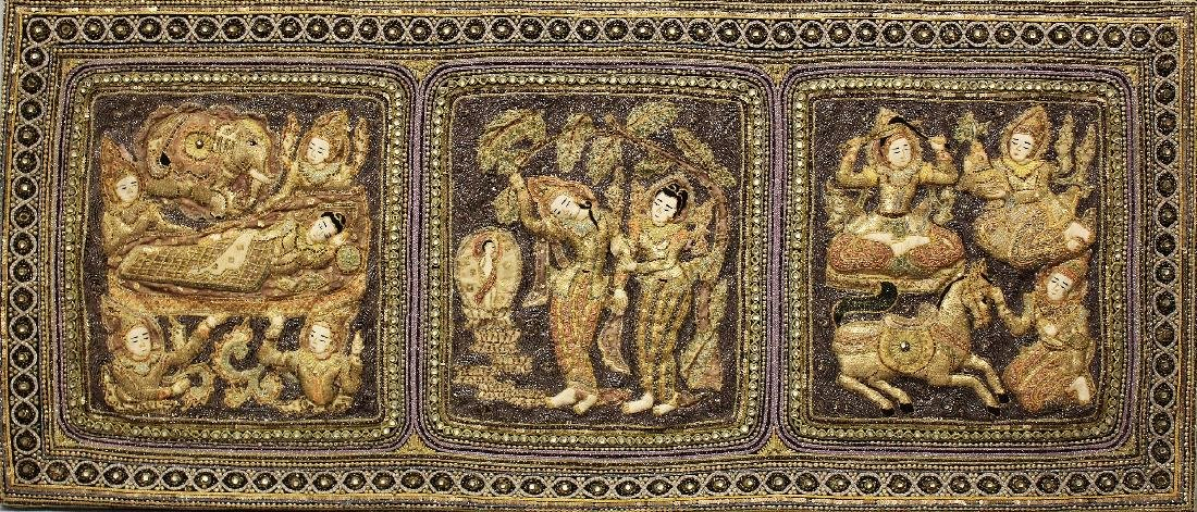 A 20TH CENTURY WOOD MOUNTED THAI EMBROIDERED FABRIC - 2