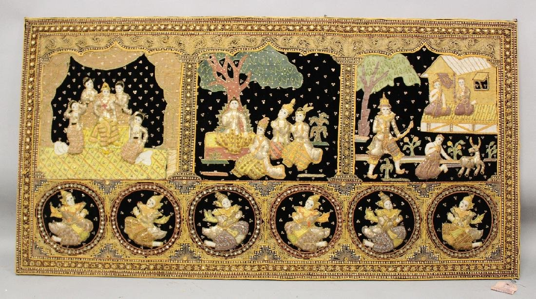 A SIMILAR 20TH CENTURY WOOD MOUNTED THAI EMBROIDERED
