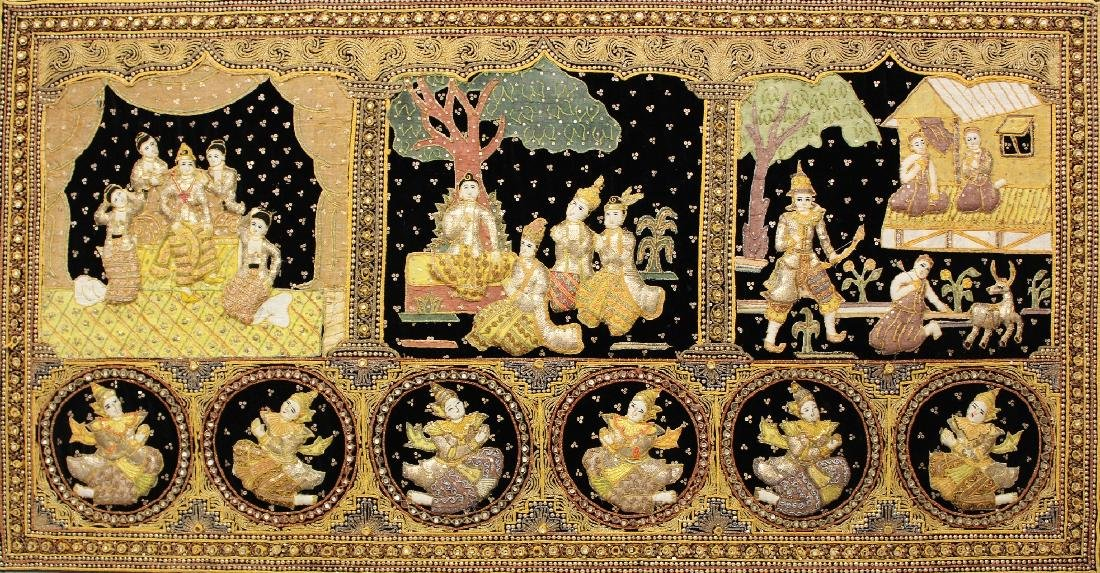 A SIMILAR 20TH CENTURY WOOD MOUNTED THAI EMBROIDERED - 2