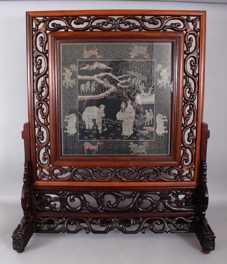 A LARGE EARLY 20TH CENTURY GOOD QUALITY HARDWOOD FRAMED