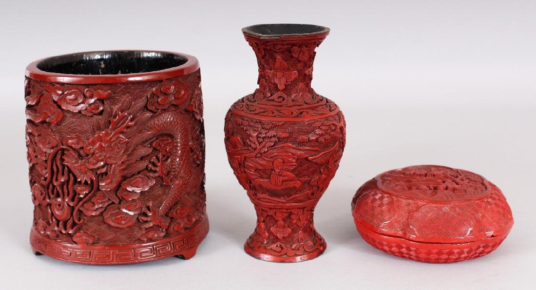 THREE 19TH & 20TH CENTURY CHINESE RED CINNABAR LACQUER