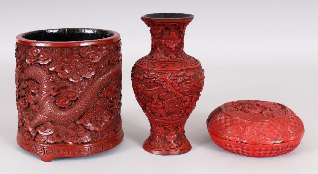 THREE 19TH & 20TH CENTURY CHINESE RED CINNABAR LACQUER - 2