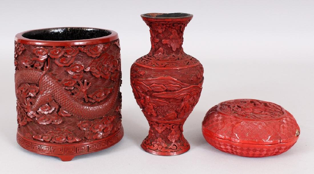THREE 19TH & 20TH CENTURY CHINESE RED CINNABAR LACQUER - 3