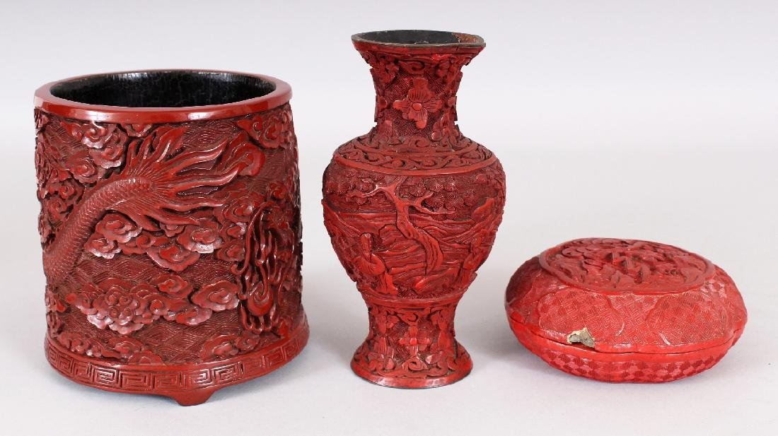 THREE 19TH & 20TH CENTURY CHINESE RED CINNABAR LACQUER - 4