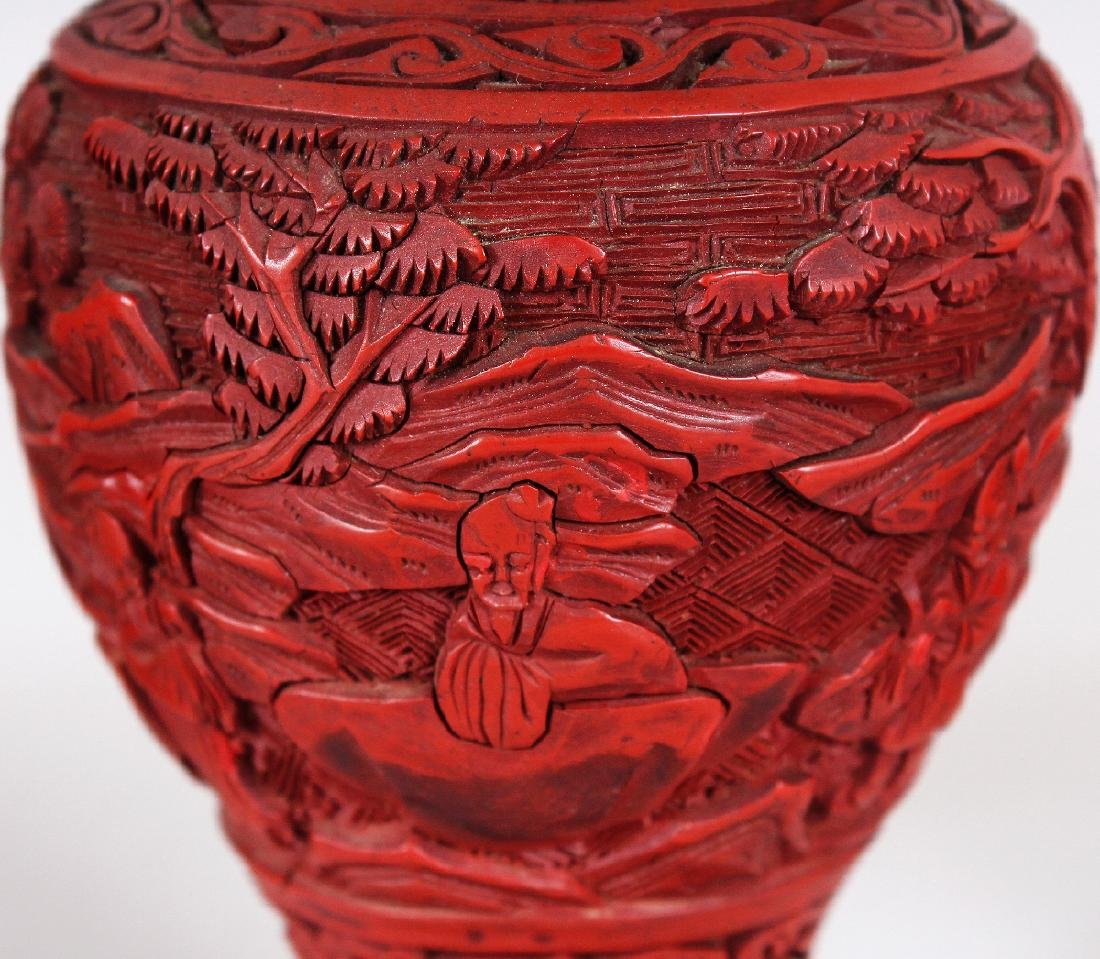 THREE 19TH & 20TH CENTURY CHINESE RED CINNABAR LACQUER - 6