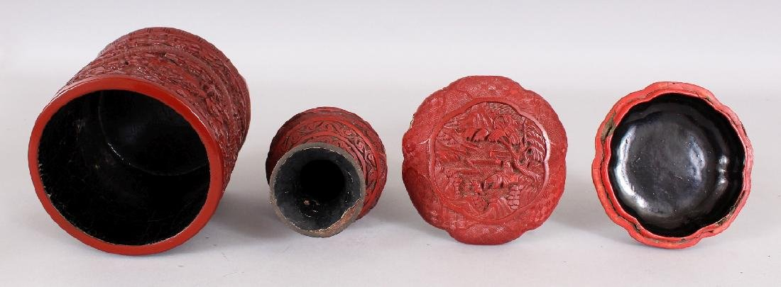 THREE 19TH & 20TH CENTURY CHINESE RED CINNABAR LACQUER - 8