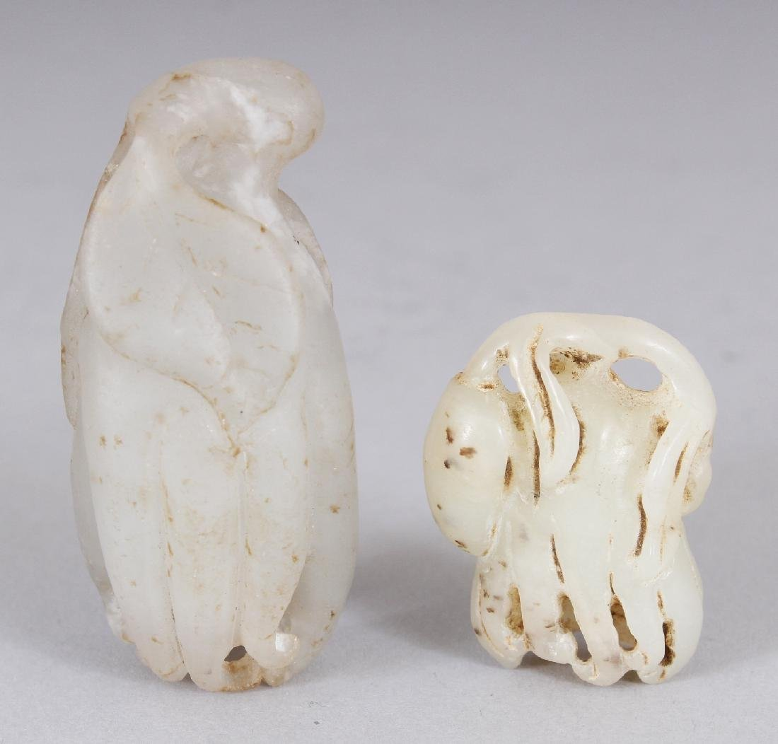 TWO SMALL CHINESE WHITE JADE LIKE MODELS OF FINGER