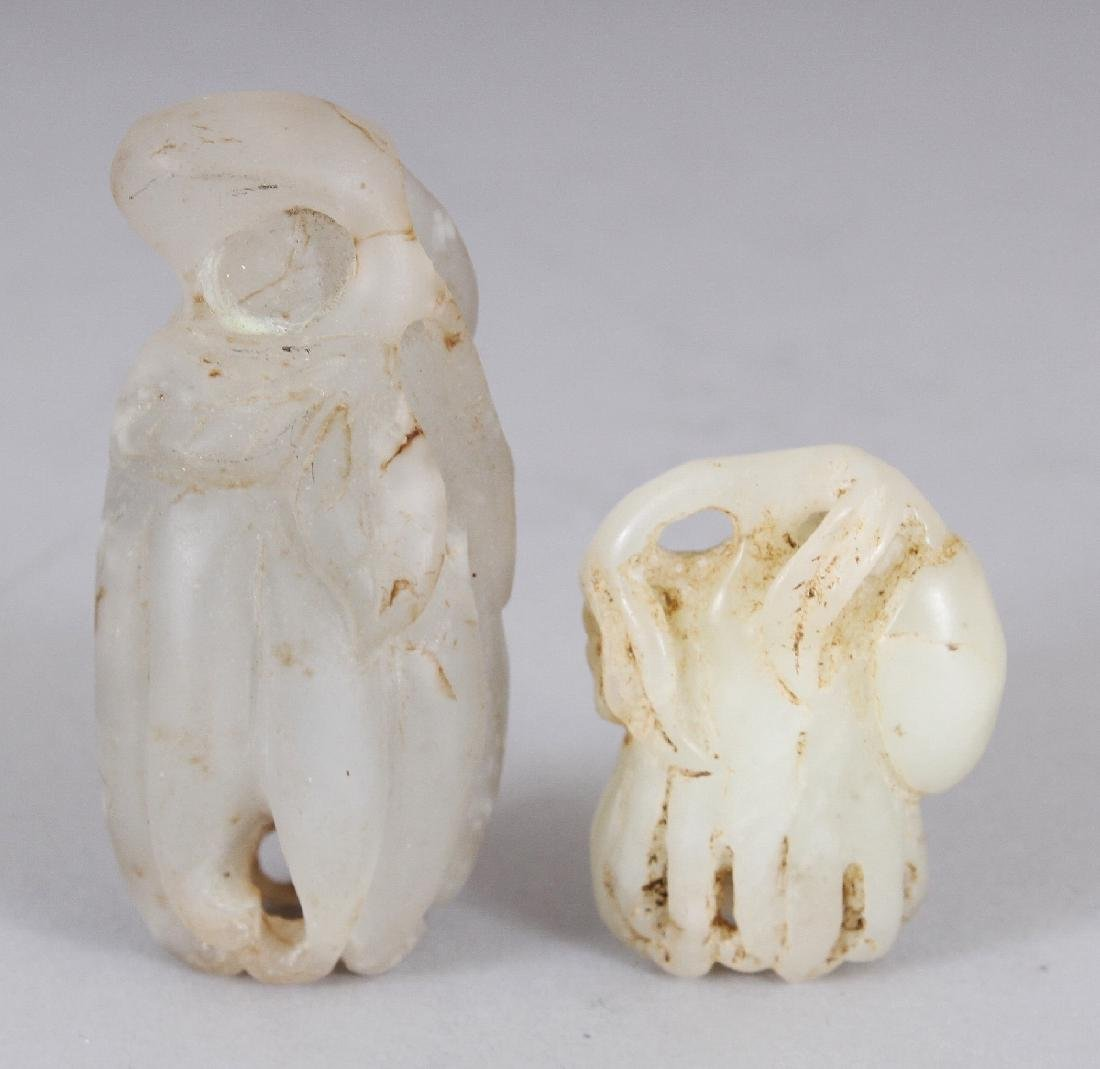 TWO SMALL CHINESE WHITE JADE LIKE MODELS OF FINGER - 2