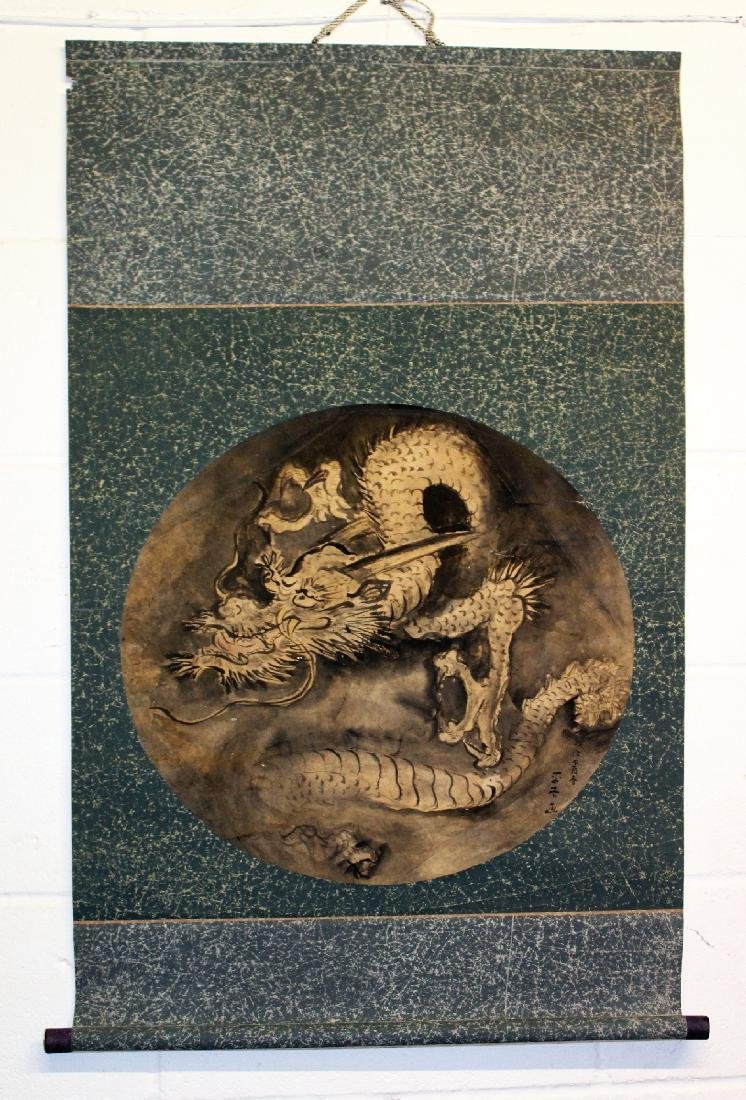 AN EARLY 20TH CENTURY JAPANESE HANGING SCROLL PAINTING