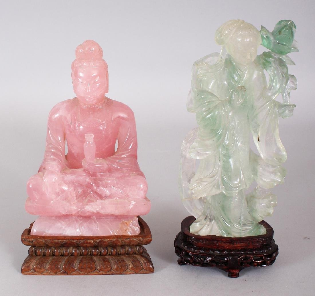 AN EARLY 20TH CENTURY CHINESE ROSE QUARTZ FIGURE OF