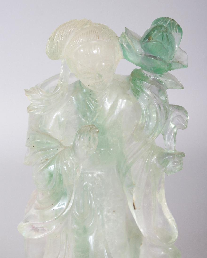 AN EARLY 20TH CENTURY CHINESE ROSE QUARTZ FIGURE OF - 6