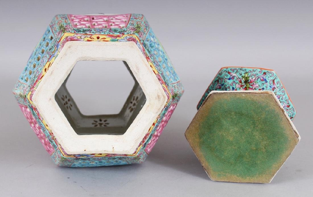 A CHINESE FAMILLE ROSE HEXAGONAL SECTION PIERCED - 8