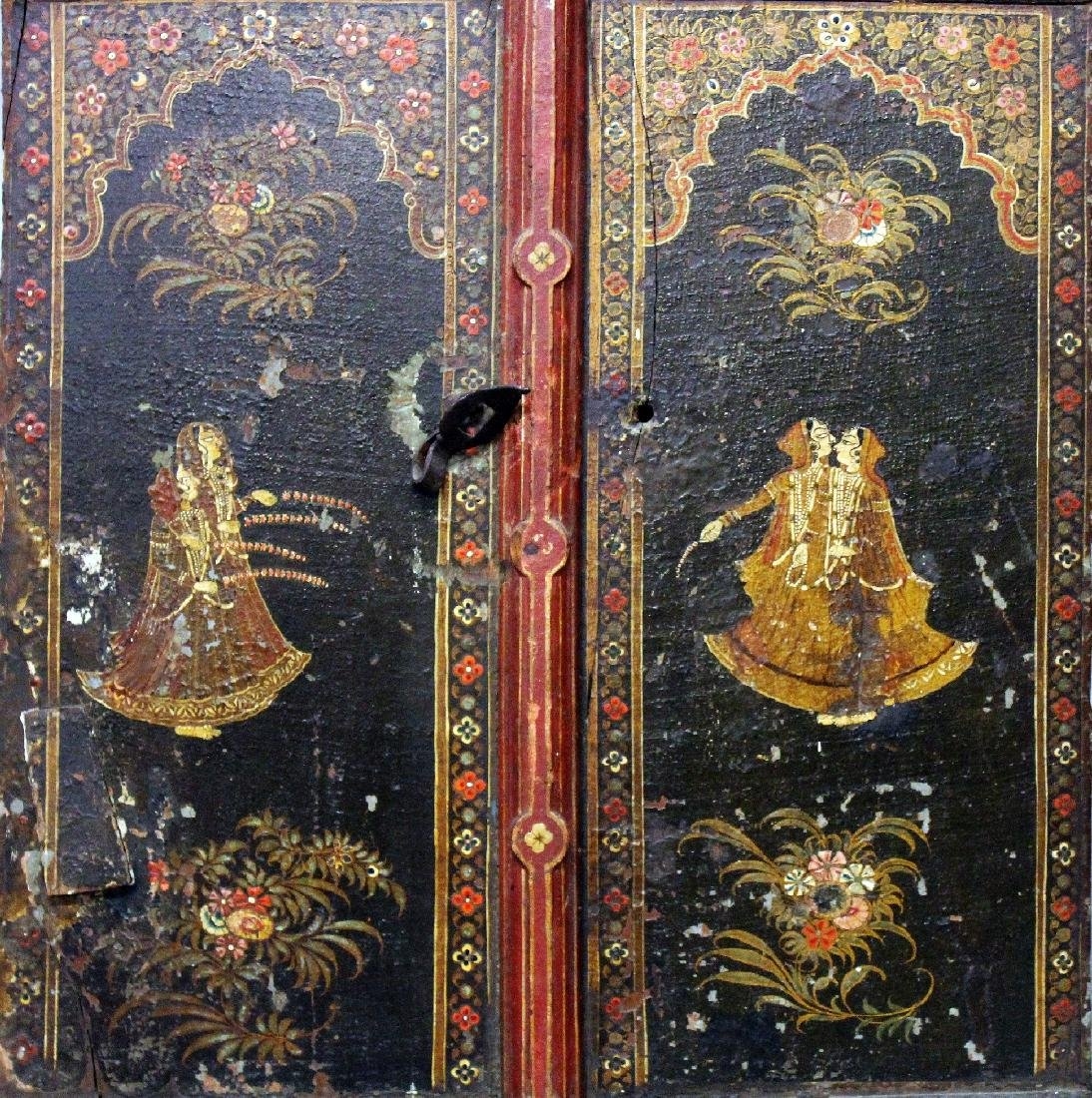 A 19TH CENTURY INDIAN HANGING LACQUERED WOOD PANEL, - 2